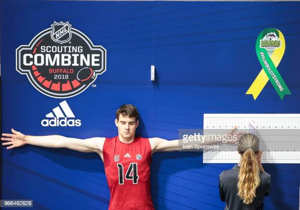 Jakub Skarek completes a test during the NHL Scouting Combine on June 2 2018 at HarborCenter in Buffalo New York