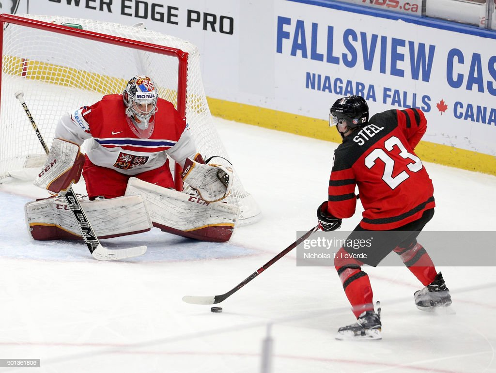 Jakub Skarek #1 of Czech Republic defends his net against Sam Steel #23 of Canada during the third period of play in the IIHF World Junior Championships Semifinal game at KeyBank Center on January 4, 2018 in Buffalo, New York.