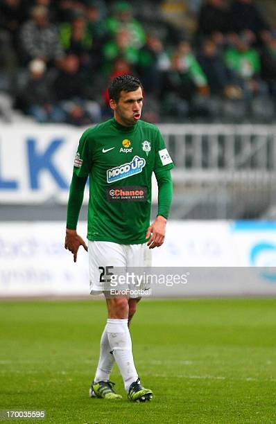 Jakub Stochl of FK Jablonec in action during the Czech First League match between FK Jablonec and SK Sigma Olomouc held on May 26, 2013 at the Chance...
