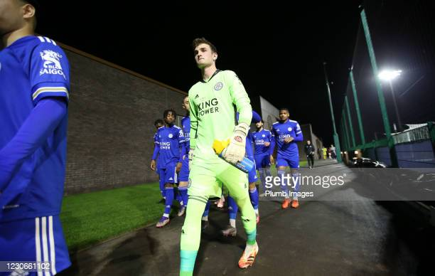 Jakub Stolarczyk of Leicester City ahead of the Premier League 2 match between Leicester City and Manchester United at Leicester City Training...