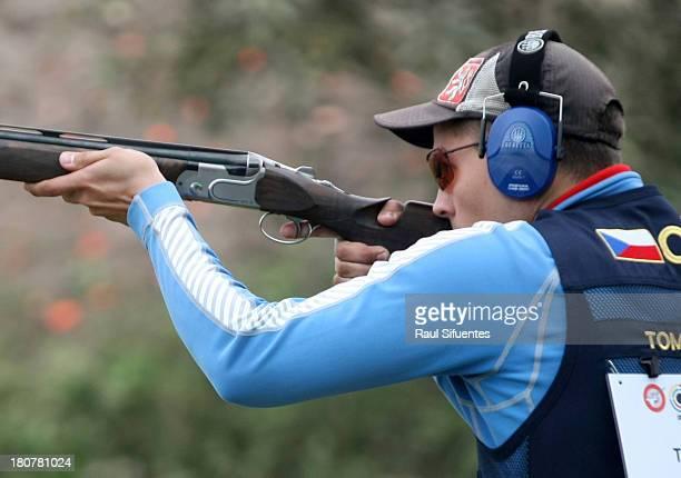 Jakub Tomecek of Czech Republic competes in the Men's Skeet Junior Shooting on Day 1 of the ISSF World Championship Shotgun on September 16 2013 in...