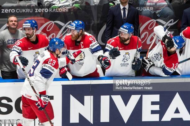 Jakub Voracek of Czech Republic celebrates a goal during the 2019 IIHF Ice Hockey World Championship Slovakia quarter final game between Czech...