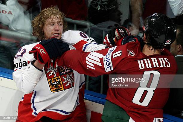 Jakub Voracek of Czech Republic fights with Brent Burns of Canada during the IIHF World Championship group F qualification round match between Canada...