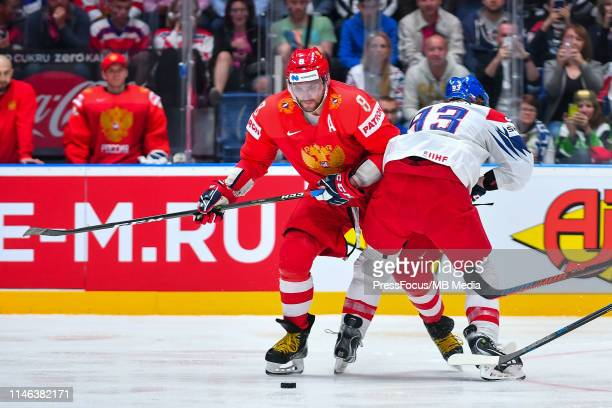 Jakub Voracek of Czech Republic tackles Alexander Ovechkin of Russia during the 2019 IIHF Ice Hockey World Championship Slovakia third place playoff...