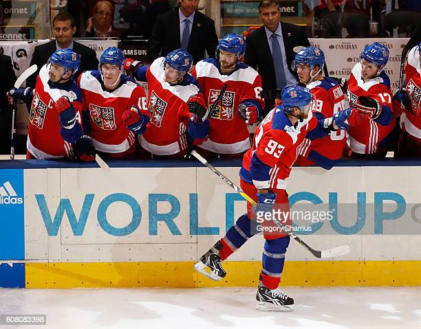 Jakub Voracek of Team Czech Republic celebrates his second period goal with teammates while playing Team Europe during the World Cup of Hockey at the...