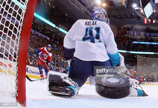 Jakub Voracek of Team Czech Republic scores a second period goal on Jaroslav Halak of Team Europe during the World Cup of Hockey tournament at the...