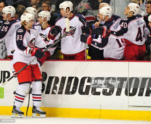 Jakub Voracek of the Columbus Blue Jackets celebrates with his bench after a goal was scored by teammate RJ Umberger against the Nashville Predators...