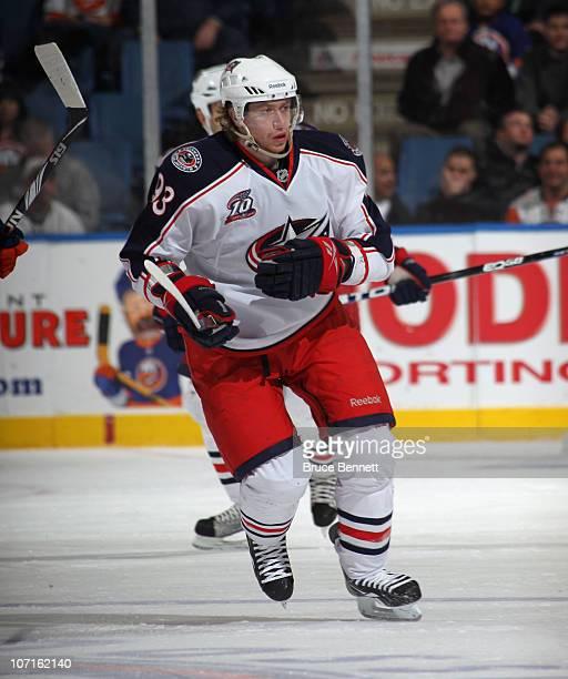 Jakub Voracek of the Columbus Blue Jackets skates against the New York Islanders at the Nassau Coliseum on November 24 2010 in Uniondale New York