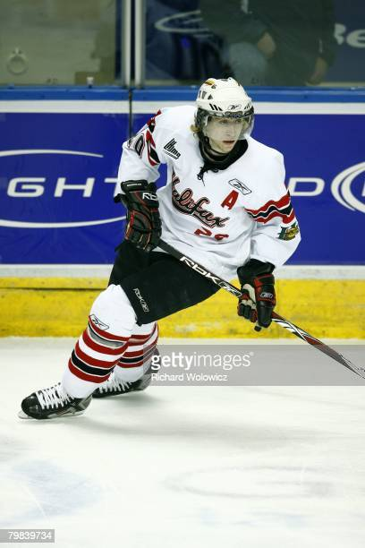 Jakub Voracek of the Halifax Mooseheads skates during the game against the Quebec City Remparts at Colisee Pepsi on February 12, 2008 in Quebec City,...