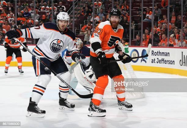 Jakub Voracek of the Philadelphia Flyers battles against Oscar Klefbom of the Edmonton Oilers on October 21 2017 at the Wells Fargo Center in...