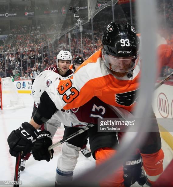 Jakub Voracek of the Philadelphia Flyers battles in the corner with Alexander Kerfoot of the Colorado Avalanche on October 22 2018 at the Wells Fargo...