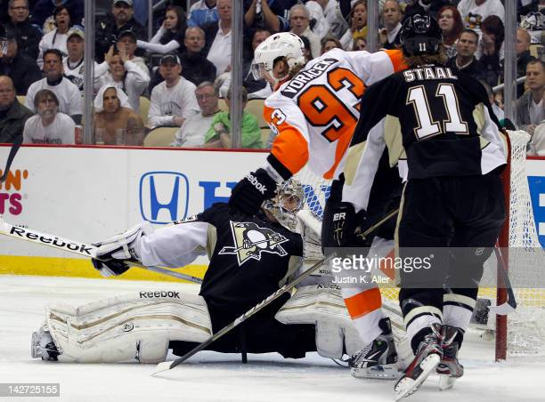 Jakub Voracek of the Philadelphia Flyers celebrates after scoring the game winning goal in overtime against the Pittsburgh Penguins in Game One of...