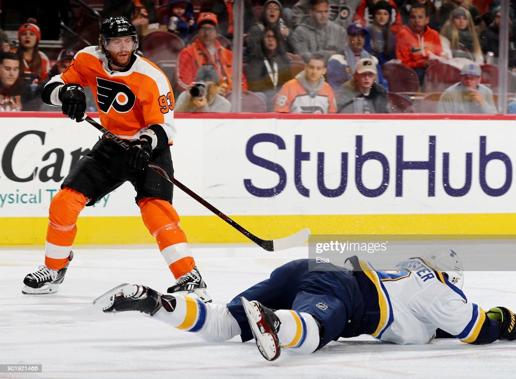 Jakub Voracek #93 of the Philadelphia Flyers has his pass blocked by Jay Bouwmeester #19 of the St. Louis Blues in the second period on January 6, 2018 at Wells Fargo Center in Philadelphia, Pennsylvania.