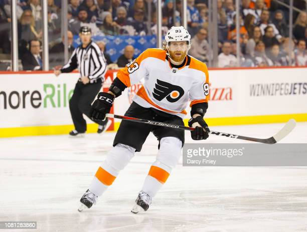 Jakub Voracek of the Philadelphia Flyers keeps an eye on the play during second period action against the Winnipeg Jets at the Bell MTS Place on...
