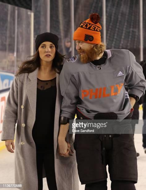 Jakub Voracek of the Philadelphia Flyers participates in the family skate at Lincoln Financial Field on February 22 2019 in Philadelphia Pennsylvania
