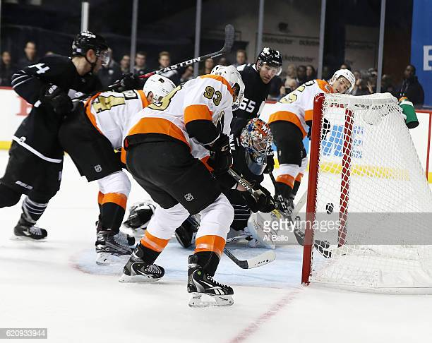 Jakub Voracek of the Philadelphia Flyers scores against Jaroslav Halak of the New York Islanders in the third period during their game at the...