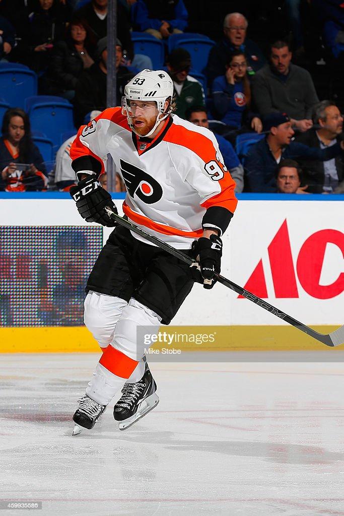Jakub Voracek #93 of the Philadelphia Flyers skates against the New York Islanders at Nassau Veterans Memorial Coliseum on November 24, 2014 in Uniondale, New York. The Islanders defeated the Flyers 1-0 in a shoot-out.