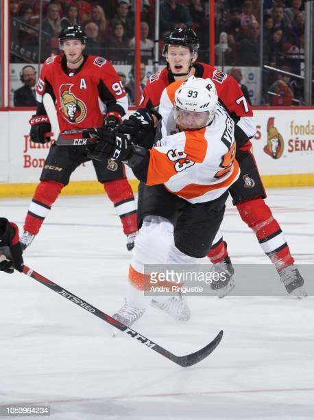 Jakub Voracek of the Philadelphia Flyers skates against the Ottawa Senators at Canadian Tire Centre on October 10 2018 in Ottawa Ontario Canada