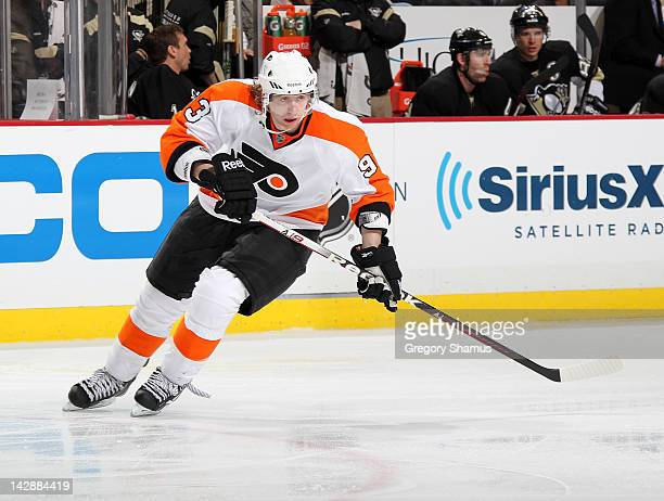 Jakub Voracek of the Philadelphia Flyers skates against the Pittsburgh Penguins in Game One of the Eastern Conference Quarterfinals during the 2012...