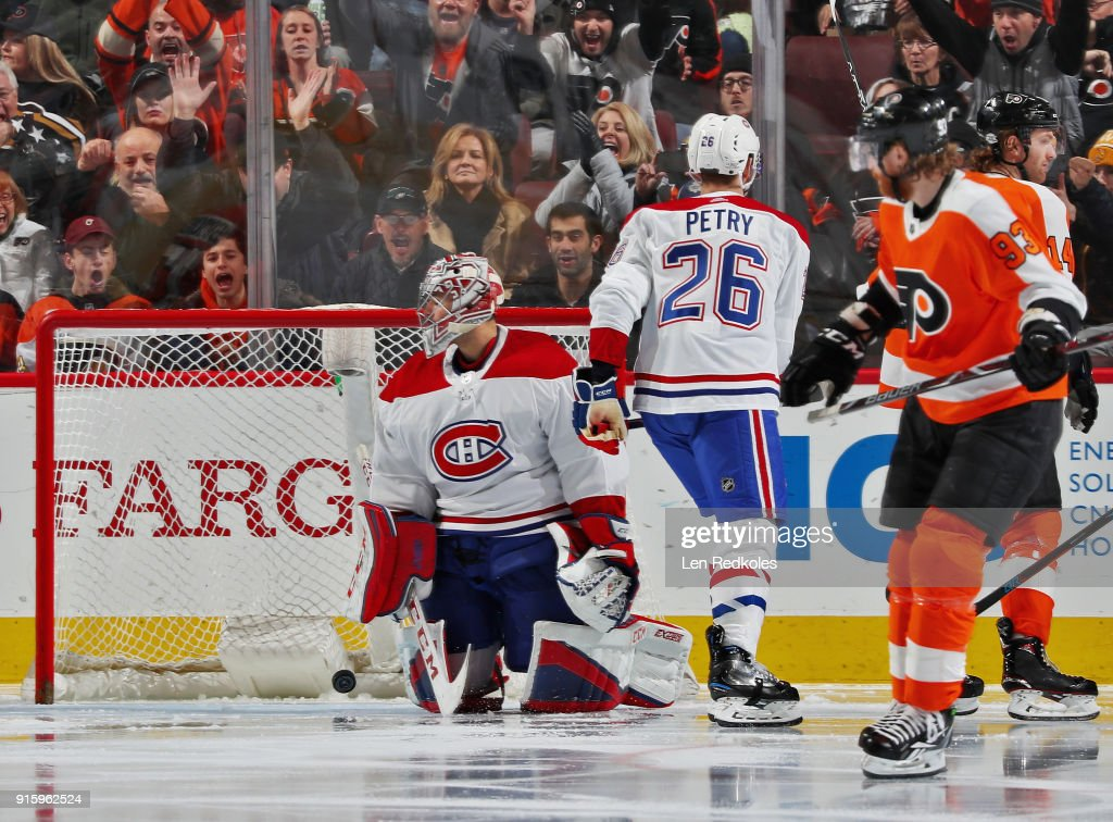Jakub Voracek #93 of the Philadelphia Flyers skates away after scoring a third period power-play goal against Carey Price #31 of the Montreal Canadiens on February 8, 2018 at the Wells Fargo Center in Philadelphia, Pennsylvania. The Flyers went on to defeat the Canadiens 5-3.
