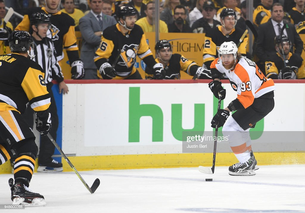 Jakub Voracek #93 of the Philadelphia Flyers skates with the puck during the first period in Game One of the Eastern Conference First Round during the 2018 NHL Stanley Cup Playoffs against the Pittsburgh Penguins at PPG PAINTS Arena on April 11, 2018 in Pittsburgh, Pennsylvania.