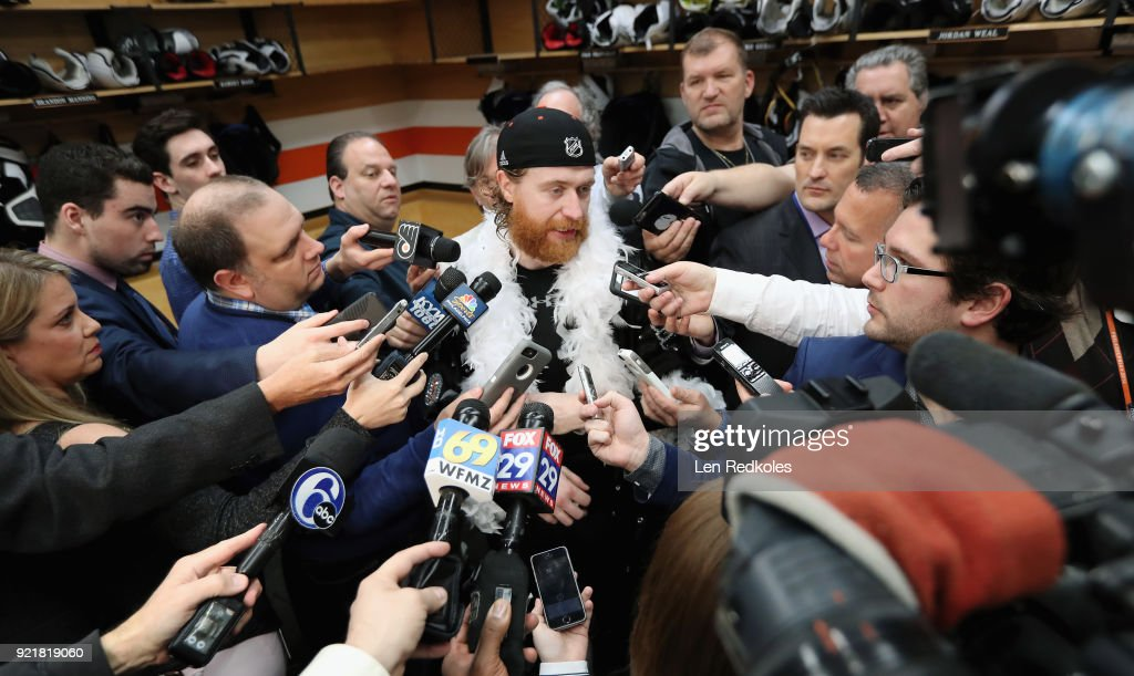 Jakub Voracek #93 of the Philadelphia Flyers speaks to the media after defeating the Montreal Canadiens 3-2 in overtime on February 20, 2018 at the Wells Fargo Center in Philadelphia, Pennsylvania.