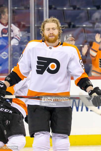 Jakub Voracek of the Philadelphia Flyers takes part in the pregame warm up prior to NHL action against the Winnipeg Jets at the Bell MTS Place on...