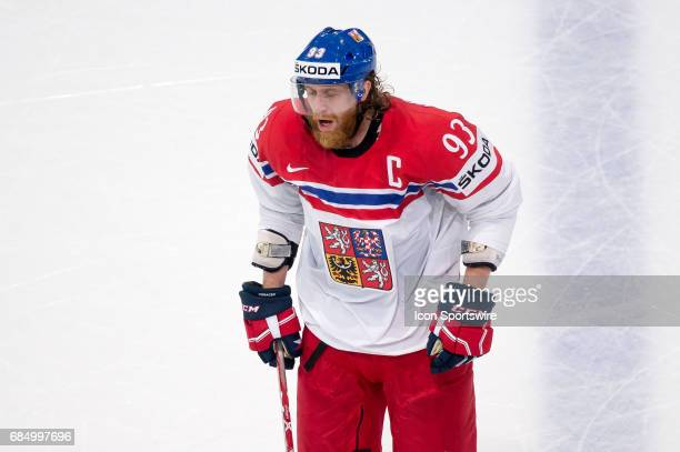 Jakub Voracek reacts during the Ice Hockey World Championship Quarterfinal between Russia and Czech Republic at AccorHotels Arena in Paris France on...