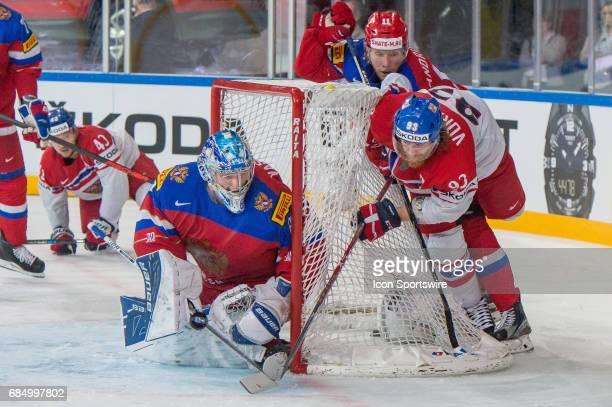 Jakub Voracek tries to score against Goalie Andrei Vasilevski during the Ice Hockey World Championship Quarterfinal between Russia and Czech Republic...