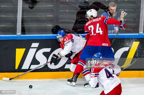 Jakub Voracek vies with Andreas Martinsen during the Ice Hockey World Championship between Czech Republic and Norway at AccorHotels Arena in Paris...