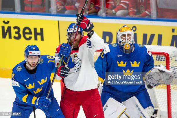 Jakub Voracek vies with Marcus Pettersson during the 2019 IIHF Ice Hockey World Championship Slovakia group B game between Czech Republic and Sweden...