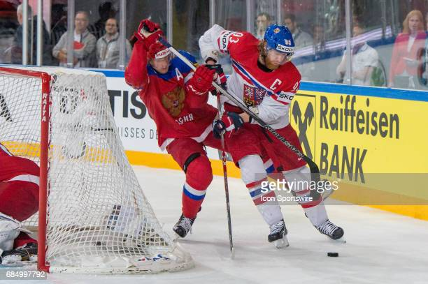 Jakub Voracek vies with Sergei Andronov during the Ice Hockey World Championship Quarterfinal between Russia and Czech Republic at AccorHotels Arena...