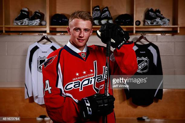 Jakub Vrana 13th overall pick of the Washington Capitals poses for a portrait during the 2014 NHL Entry Draft at Wells Fargo Center on June 27 2014...