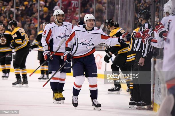 Jakub Vrana and Alex Ovechkin of the Washington Capitals celebrate a goal against the Boston Bruins at the TD Garden on December 14 2017 in Boston...