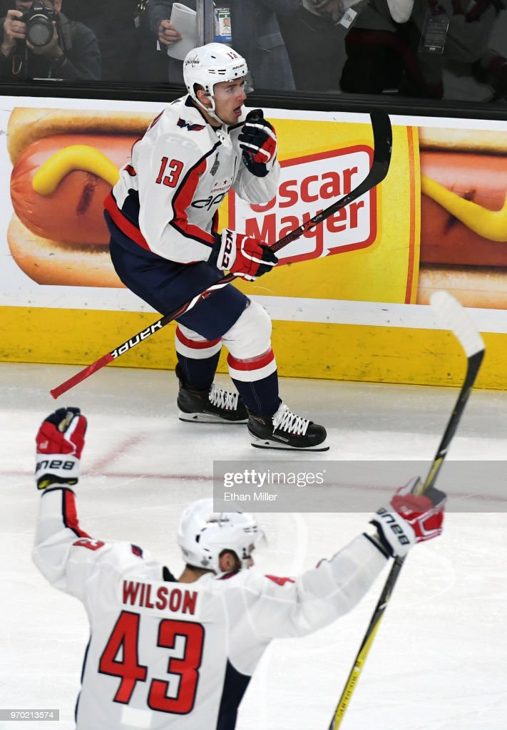 Jakub Vrana #13 and Tom Wilson #43 of the Washington Capitals celebrate after Wilson assisted Vrana on a second-period goal against the Vegas Golden Knights in Game Five of the 2018 NHL Stanley Cup Final at T-Mobile Arena on June 7, 2018 in Las Vegas, Nevada. The Capitals defeated the Golden Knights 4-3.
