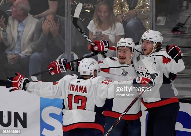 Jakub Vrana Dmitry Orlov and Nicklas Backstrom of the Washington Capitals celebrate after Vrana assisted Backstrom on a firstperiod goal against the...