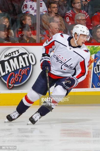 Jakub Vrana in an NHL game against the Calgary Flames at the Scotiabank Saddledome on October 29 2017 in Calgary Alberta Canada
