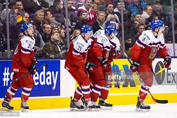 Jakub Vrana of Czech Republic celebrates a goal against Sweden during the 2015 IIHF World Junior Championship on December 26 2014 at the Air Canada...