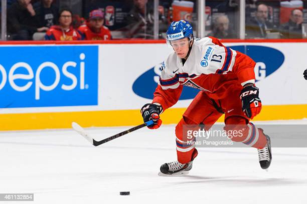 Jakub Vrana of Team Czech Republic skates after the puck in a quarterfinal round during the 2015 IIHF World Junior Hockey Championships against Team...