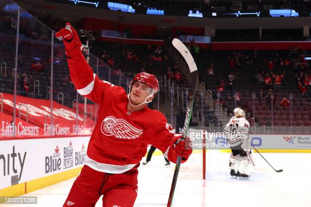 Jakub Vrana of the Detroit Red Wings celebrates his second period goal while playing the Chicago Blackhawks at Little Caesars Arena on April 15, 2021...