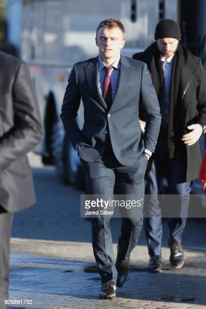 Jakub Vrana of the Washington Capitals arrives for the 2018 Coors Light NHL Stadium Series game between the Toronto Maple Leafs and the Washington...
