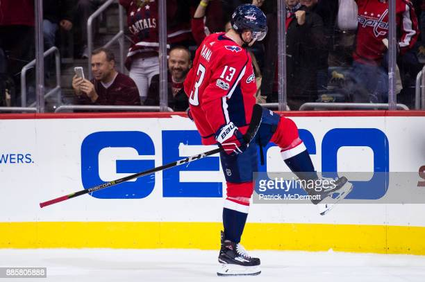 Jakub Vrana of the Washington Capitals celebrates after scoring a goal in the third period against the San Jose Sharks at Capital One Arena on...