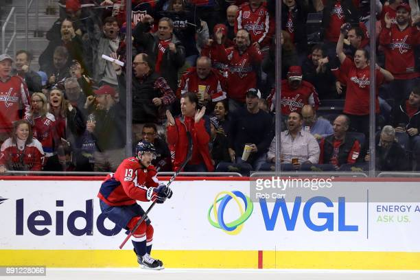 Jakub Vrana of the Washington Capitals celebrates after scoring a first period goal against the Colorado Avalanche at Capital One Arena on December...