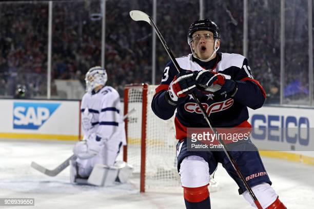 Jakub Vrana of the Washington Capitals celebrates his goal against the Toronto Maple Leafs during the second period in the Coors Light NHL Stadium...