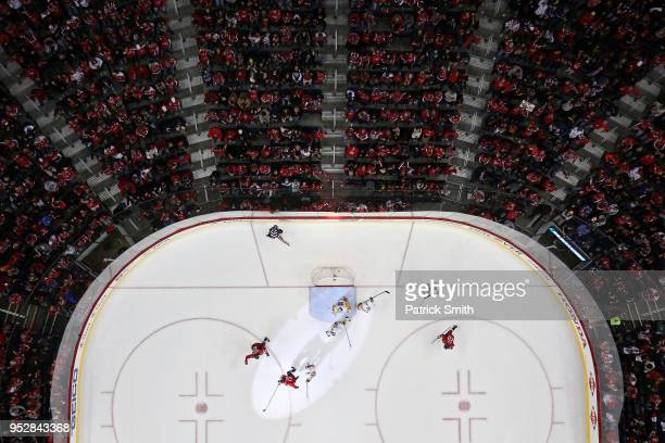 Jakub Vrana of the Washington Capitals celebrates his goal against the Pittsburgh Penguins during the first period in Game Two of the Eastern...