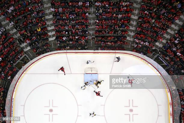 Jakub Vrana of the Washington Capitals celebrates his goal against the Pittsburgh Penguins during the third period in Game Five of the Eastern...