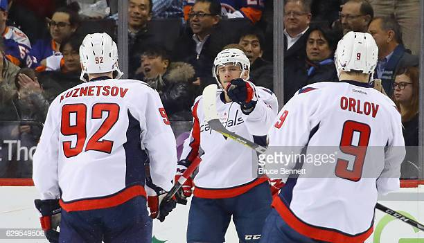Jakub Vrana of the Washington Capitals celebrates his powerplay goal against the New York Islanders at 737 of the second period at the Barclays...