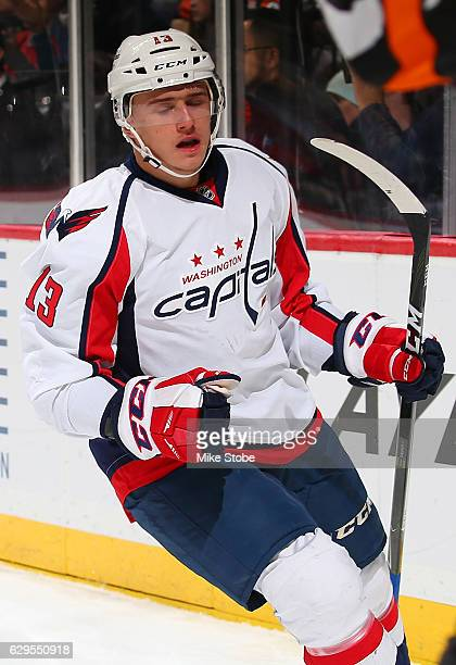 Jakub Vrana of the Washington Capitals celebrates his second period goal against the New York Islanders at the Barclays Center on December 13 2016 in...