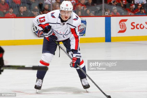 Jakub Vrana of the Washington Capitals in an NHL game against the Calgary Flames at the Scotiabank Saddledome on October 29 2017 in Calgary Alberta...