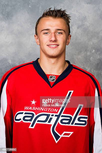 Jakub Vrana of the Washington Capitals poses for his official headshot for the 20152016 season on September 17 2015 at Kettler Capitals Iceplex in...